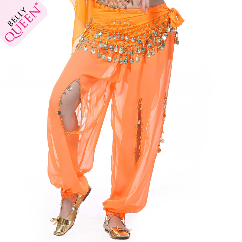 Dancewear Chiffon Belly Dance Pants With Coins For Ladies