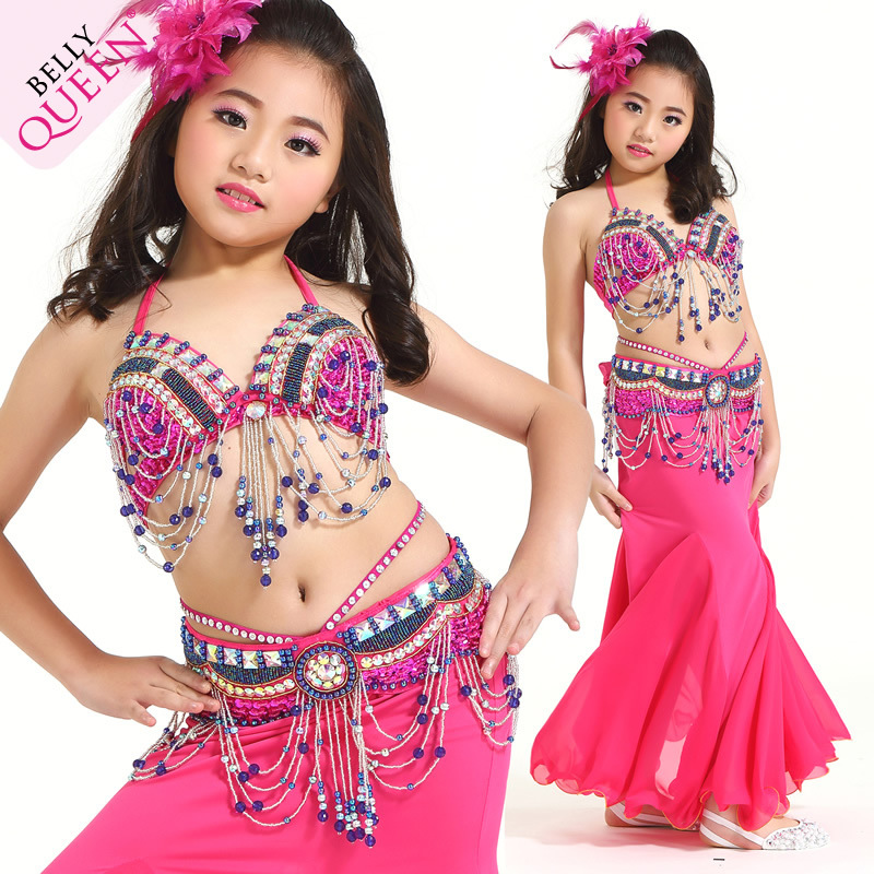 Professional Dancewear Polyester Kids Belly Dance Performance Costumes