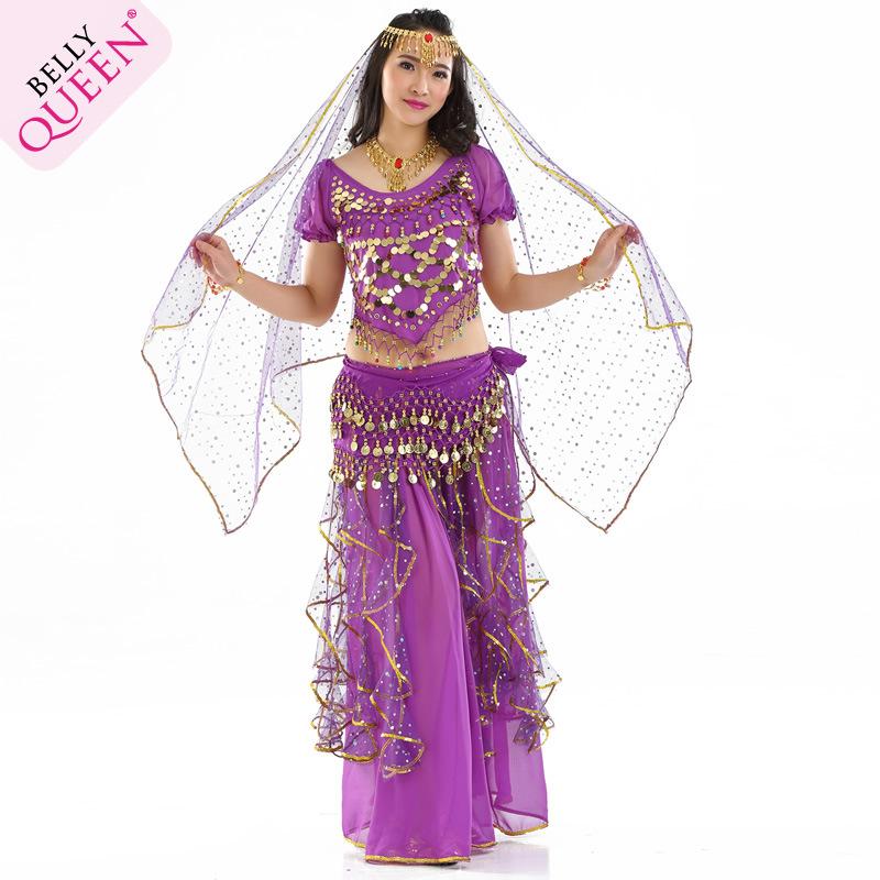 5 Pieces Dancewear Polyester Belly Dance Costumes For Ladies More Colors