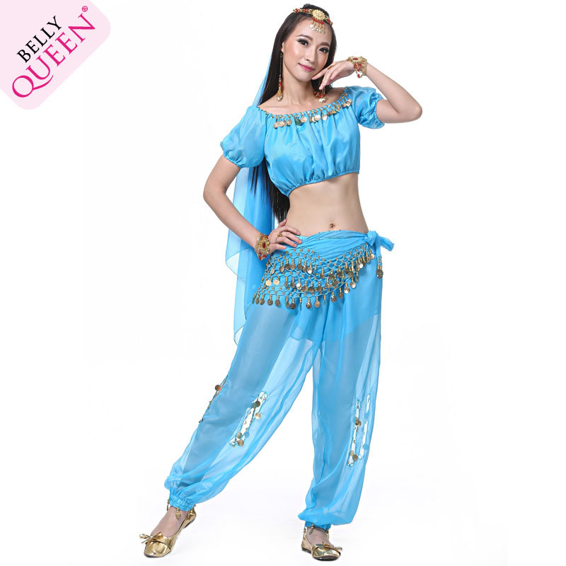 5 Pieces Dancewear Chiffon Indian Belly Dance Costumes For Ladies