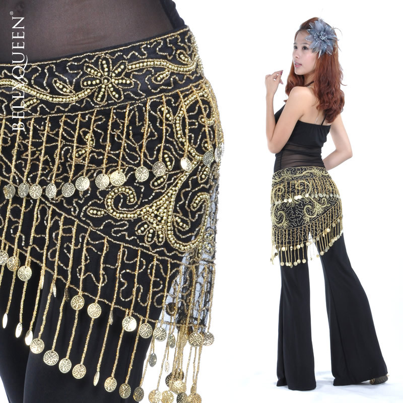 Dancewear Polyester 150 Coins Performance Belly Dance Belt For Ladies