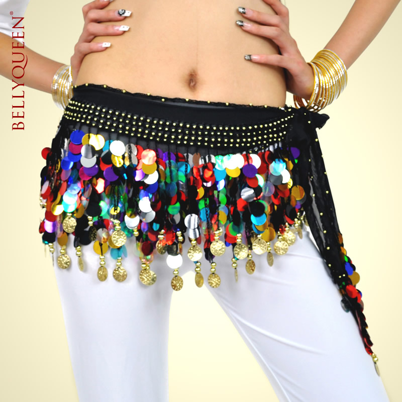 Dancewear Polyester Gold Coins Belly Dance Hip Scarf More Colors