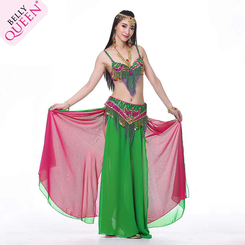3 Pieces Dancewear Polyester Belly Dance Performance Costumes For Women