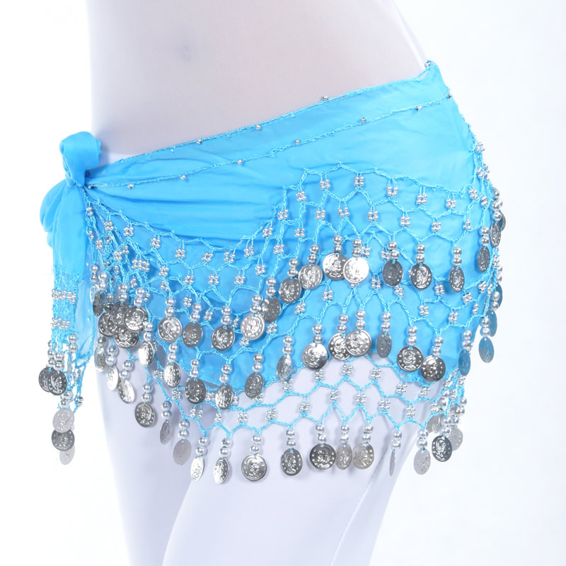 Dancewear Chiffon Silver Coins Belly Dance Hip Scarf More Colors
