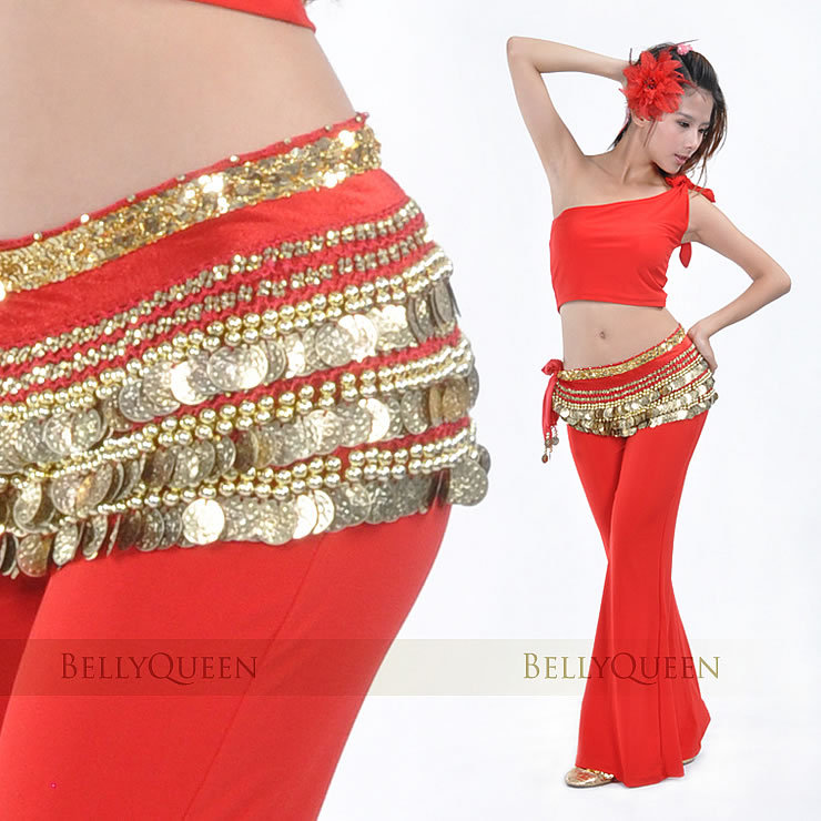 SEO_COMMON_KEYWORDS Dancewear Polyester 338 Gold Coins Belly Dance Hip Scarf More Colors