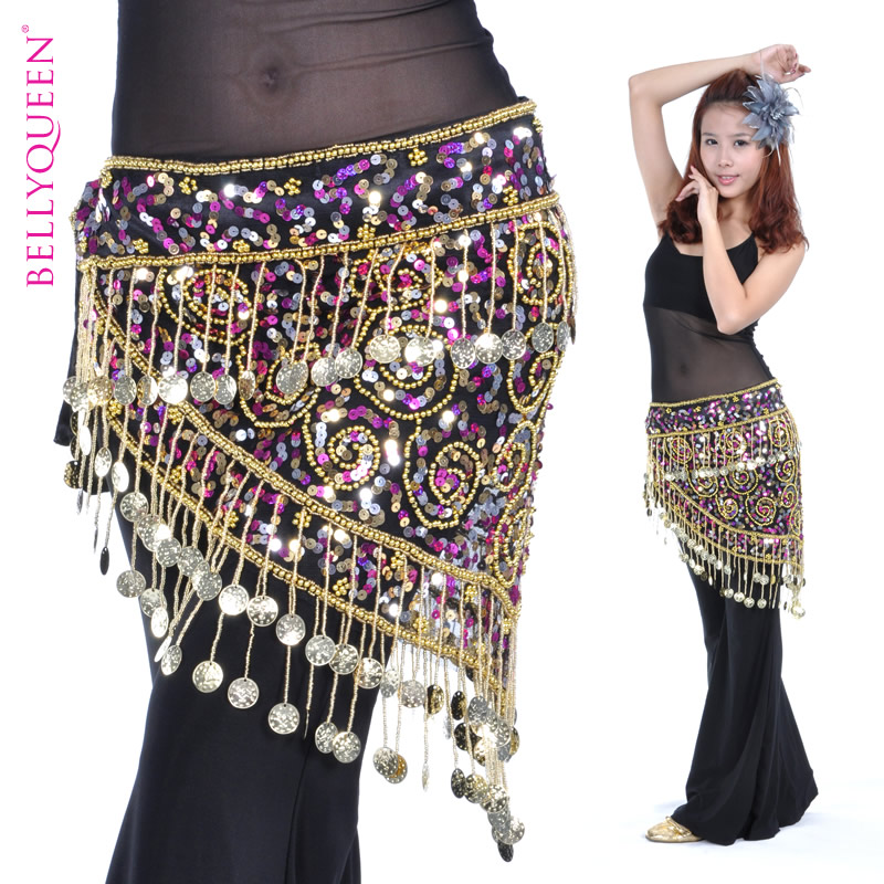 Dancewear Polyester With Beading 150 Coins Performance Belly Dance Belt For Ladies