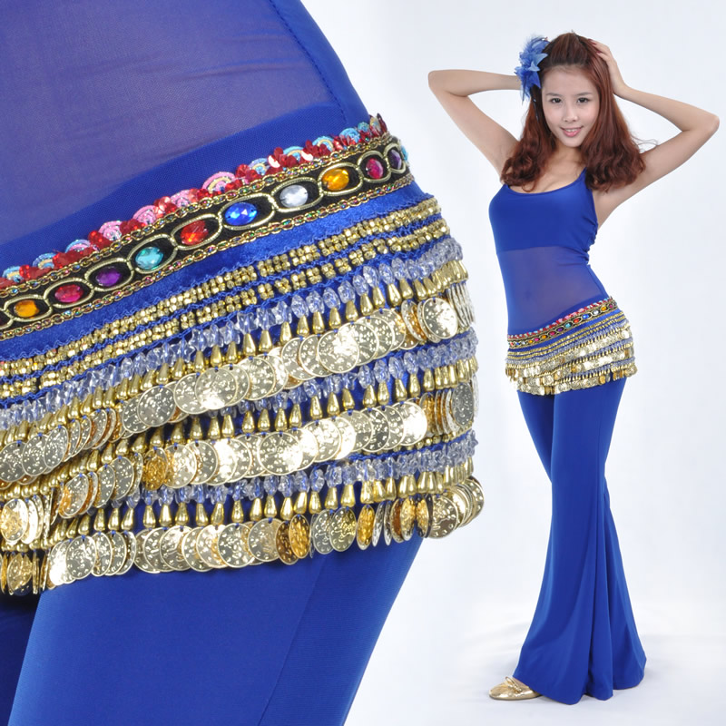 Dancewear Velvet 338 coins Performance Belly Dance Belt For Ladies