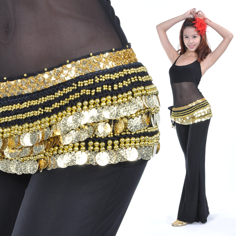 Dancewear Polyester 338 Gold Coins Belly Dance Hip Scarf More Colors